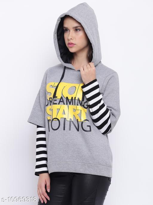TEXCO Grey Printed Hooded Sweatshirt for Women