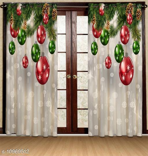 Merry Christmas 3D Digital Printed Door Curtains Set of 2