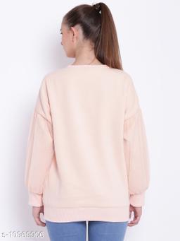 TEXCO Peach Embellished Round Neck Sweatshirt for Women