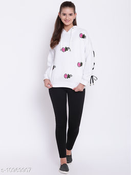 TEXCO White Floral Embroidered Grommets Embellished Hooded Sweatshirt for Women