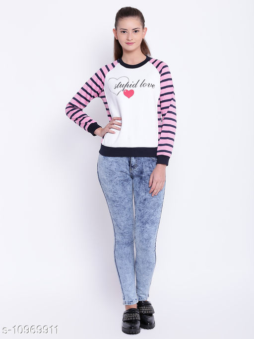 TEXCO Pink and White Round Neck Sweatshirt for Women