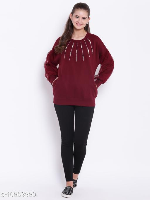 TEXCO Maroon Embellished Round Neck Sweatshirt for Women