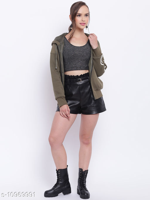 TEXCO Olive Printed Hooded Jacket for Women