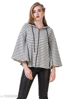 TEXCO Grey Lurex Striped Cape Light Weight Women Jacket