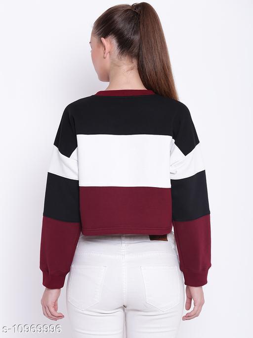 TEXCO Colour Block Round Neck Sweatshirt for Women Black
