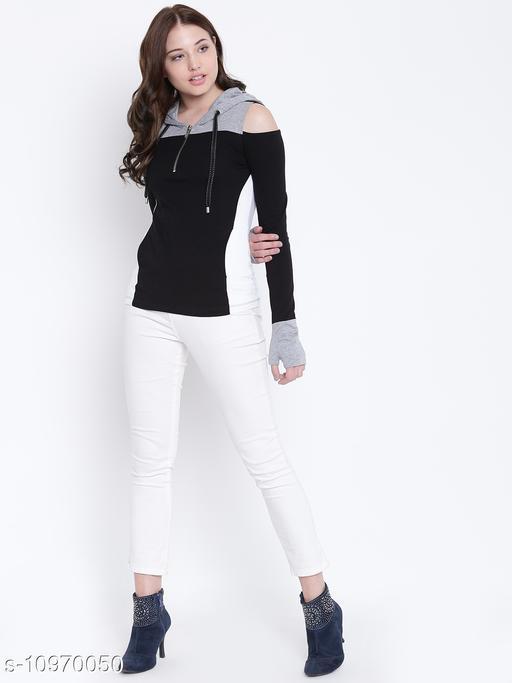 TEXCO Hooded Full Sleeves Women Tops Blue