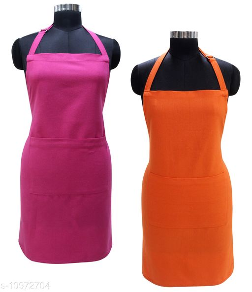 Airwill 100% Cotton Premium Quality Solid Pattern Free Sized Apron (Pink,Orange , Pack of 2)