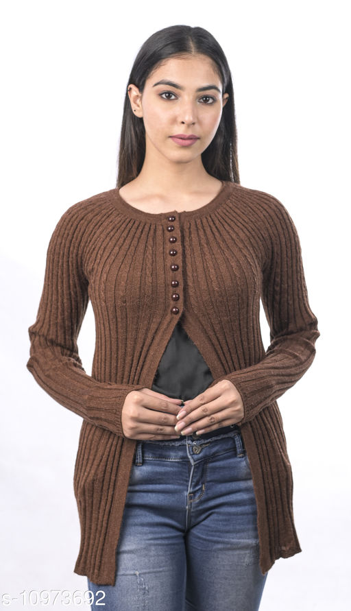 Varenyam woollen round Neck Full Sleeve solid shrug