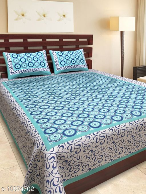 Bhagats Green Jalebi Print 88*98 Cotton Double Bedsheet with 2 Pillow Cover