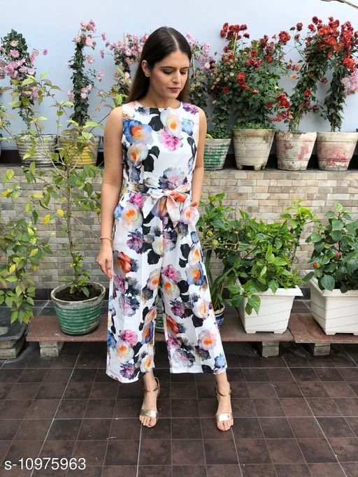 Round Neck Cut Sleeve Printed Long Jumpsuit With Back Zip For Women