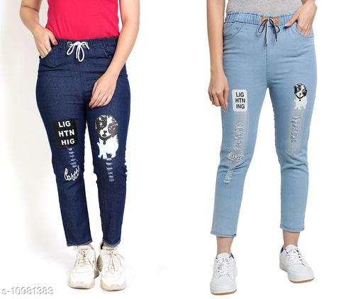 Trackpants & Joggers Joggers Combo  *Fabric* Denim  *Pattern* Printed  *Multipack* 2  *Sizes*  Free Size  *Country of Origin* India  *Sizes Available* Free Size *    Catalog Name: Agile Classy Kids Girls Trackpants CatalogID_2034539 C62-SC1162 Code: 654-10981383-