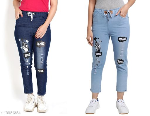Trackpants & Joggers Joggers Combo  *Fabric* Denim  *Pattern* Printed  *Multipack* 2  *Sizes*  Free Size  *Country of Origin* India  *Sizes Available* Free Size *    Catalog Name: Agile Classy Kids Girls Trackpants CatalogID_2034539 C62-SC1162 Code: 654-10981384-