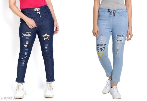 Trackpants & Joggers Joggers Combo  *Fabric* Denim  *Pattern* Printed  *Multipack* 2  *Sizes*  Free Size  *Country of Origin* India  *Sizes Available* Free Size *    Catalog Name: Agile Classy Kids Girls Trackpants CatalogID_2034539 C62-SC1162 Code: 654-10981385-