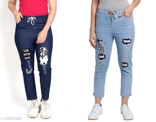 Trackpants & Joggers Joggers Combo  *Fabric* Denim  *Pattern* Printed  *Multipack* 2  *Sizes*  Free Size  *Country of Origin* India  *Sizes Available* Free Size *    Catalog Name: Agile Classy Kids Girls Trackpants CatalogID_2034539 C62-SC1162 Code: 654-10981386-
