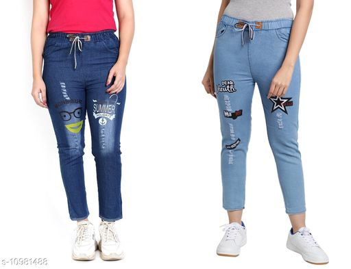 Trackpants & Joggers Joggers Combo  *Fabric* Denim  *Pattern* Printed  *Multipack* 2  *Sizes*  Free Size  *Country of Origin* India  *Sizes Available* Free Size *    Catalog Name: Pretty Trendy Kids Girls Trackpants CatalogID_2034566 C62-SC1162 Code: 654-10981488-