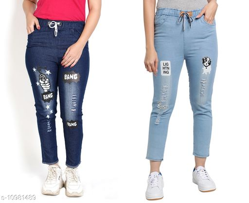 Trackpants & Joggers Joggers Combo  *Fabric* Denim  *Pattern* Printed  *Multipack* 2  *Sizes*  Free Size  *Country of Origin* India  *Sizes Available* Free Size *    Catalog Name: Pretty Trendy Kids Girls Trackpants CatalogID_2034566 C62-SC1162 Code: 654-10981489-