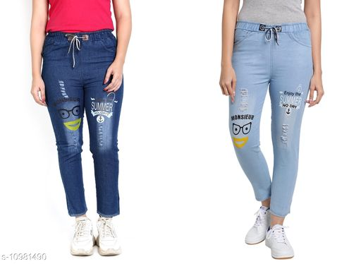 Trackpants & Joggers Joggers Combo  *Fabric* Denim  *Pattern* Printed  *Multipack* 2  *Sizes*  Free Size  *Country of Origin* India  *Sizes Available* Free Size *    Catalog Name: Pretty Trendy Kids Girls Trackpants CatalogID_2034566 C62-SC1162 Code: 654-10981490-