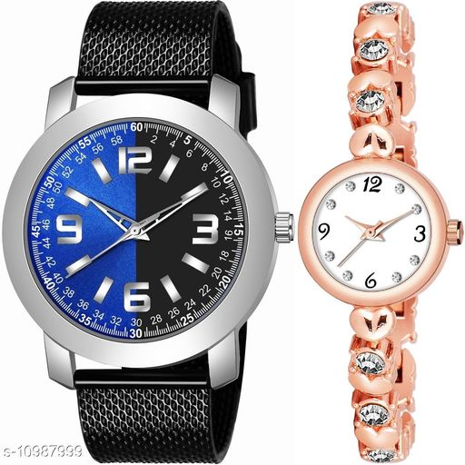 Casual Analogue Multicolor dial Black strap combo watch for Men and Women - Sign_Men_K_509_LA_779