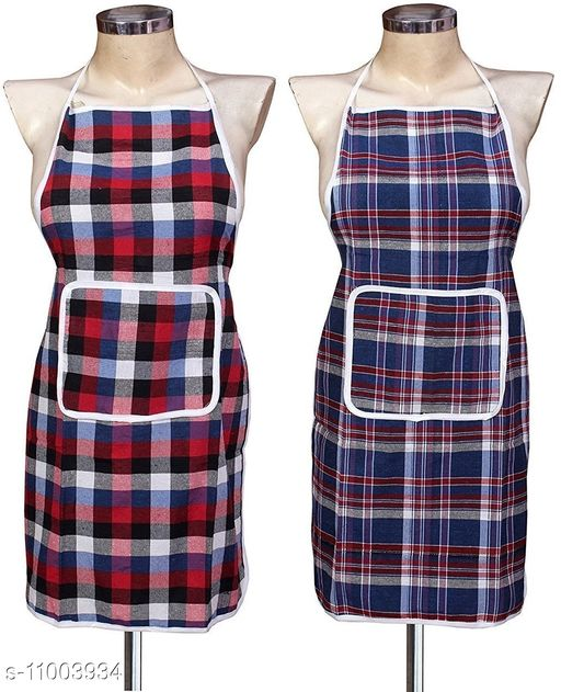 Cotton Chef's Apron - Free Size  (Multicolor, Pack of 2)