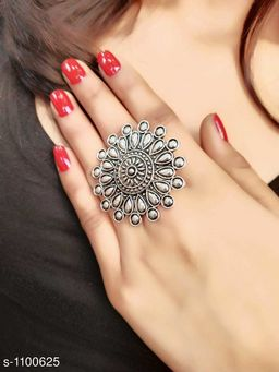 Oxidised Silver Classy Oxidize Stone Work Finger Ring