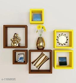 Trendy stylish wall shelf set of 6 Brown and Yellow