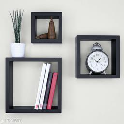 Trendy stylish wall shelf set of 3 Black