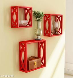 Trendy stylish wall shelf Set of 3 Red
