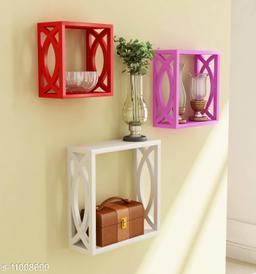 Trendy stylish wall shelf set of 3 multi color