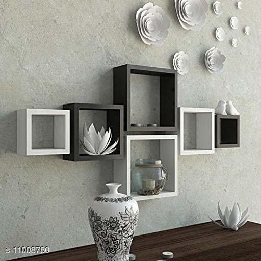 Trendy stylish wall shelf set of 6 White and Black