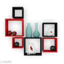 Trendy stylish wall shelf set of 6 Black and Red