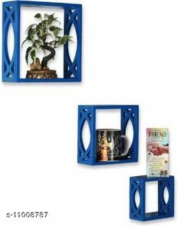Trendy stylish wall shelf set of 3 Blue