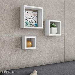 Trendy stylish wall shelf set of 3 White