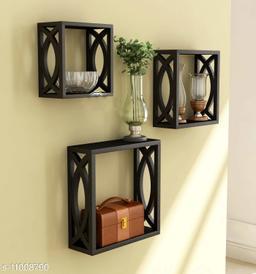 Trendy stylish wall shelf Set of3 Black
