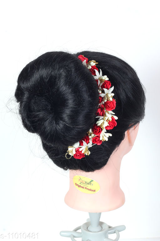 Artificial Flower Hair Gajra For Bun Accessories, Beautiful Hair gajra with RED Color bun Accessories For Women, Bun accessories for Occasion/Festival,RED color, Pack of 1)