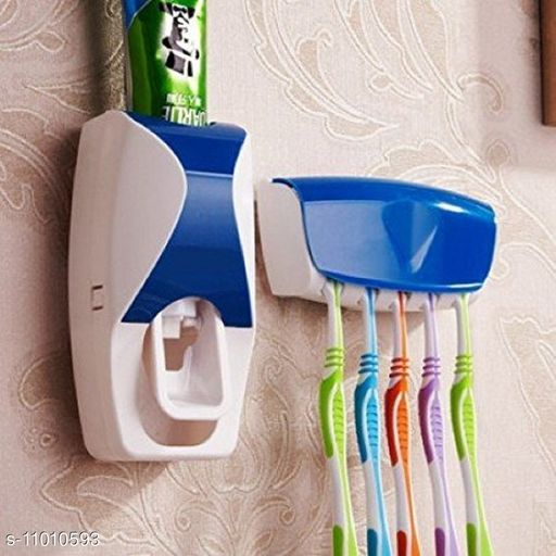 Shopper52 Automatic Toothpaste Dispenser Squeezer With Wall Mounted Toothbrush Holder