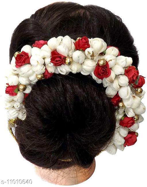 Women Hair Bun accessories White Gajra Bun Juda, Artificial Red Flower Jewelry Handmade Costume Veni Bun For Bridal Bridesmaid Wedding Wear Hair Bun
