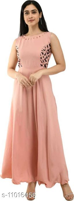 Womens Crepe Long Gown