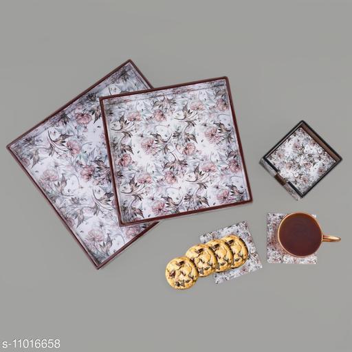 Summer Floral MDF Wood Enamel Coated Multipurpose Trays and Coasters (set of 2)