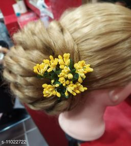 Stamen Artificial yellow colour Flowers for hair