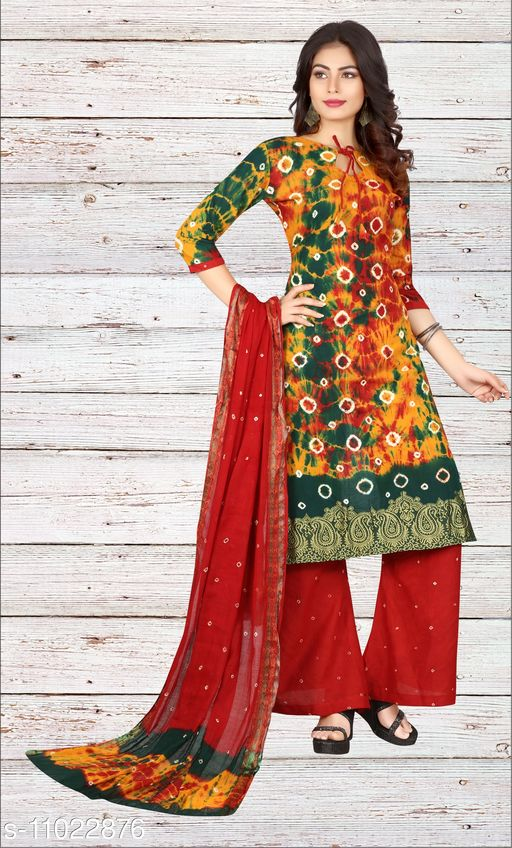 Ethnic Bottomwear - Salwars & Chudidars Superior Women Salwar kameez  *Kameez Fabric* Cotton  *Pattern* Bandhej Handicraft  *Multipack* 1  *Stitch Type* Stitched  *Dupatta Fabric* No Dupatta  *Sizes*  Free Size (Upto 44 in)  *Sizes Available* Free Size *    Catalog Name: Superior Women Salwar kameez CatalogID_2045024 C74-SC1017 Code: 807-11022876-