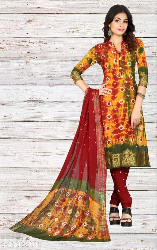 Ethnic Bottomwear - Salwars & Chudidars Superior Women Salwar kameez  *Kameez Fabric* Cotton  *Pattern* Bandhej Handicraft  *Multipack* 1  *Stitch Type* Stitched  *Dupatta Fabric* No Dupatta  *Sizes*  Free Size (Upto 44 in)  *Sizes Available* Free Size *    Catalog Name: Superior Women Salwar kameez CatalogID_2045024 C74-SC1017 Code: 807-11022913-