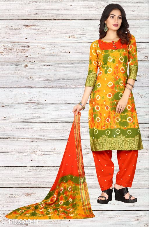 Ethnic Bottomwear - Salwars & Chudidars Superior Women Salwar kameez  *Kameez Fabric* Cotton  *Pattern* Bandhej Handicraft  *Multipack* 1  *Stitch Type* Stitched  *Dupatta Fabric* No Dupatta  *Sizes*  Free Size (Upto 44 in)  *Sizes Available* Free Size *    Catalog Name: Superior Women Salwar kameez CatalogID_2045024 C74-SC1017 Code: 807-11022941-