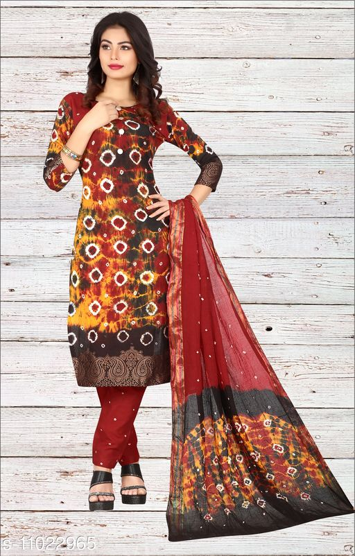 Ethnic Bottomwear - Salwars & Chudidars Superior Women Salwar kameez  *Kameez Fabric* Cotton  *Pattern* Bandhej Handicraft  *Multipack* 1  *Stitch Type* Stitched  *Dupatta Fabric* No Dupatta  *Sizes*  Free Size (Upto 44 in)  *Sizes Available* Free Size *    Catalog Name: Superior Women Salwar kameez CatalogID_2045024 C74-SC1017 Code: 807-11022965-