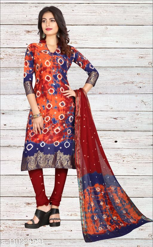 Ethnic Bottomwear - Salwars & Chudidars Superior Women Salwar kameez  *Kameez Fabric* Cotton  *Pattern* Bandhej Handicraft  *Multipack* 1  *Stitch Type* Stitched  *Dupatta Fabric* No Dupatta  *Sizes*  Free Size (Upto 44 in)  *Sizes Available* Free Size *    Catalog Name: Superior Women Salwar kameez CatalogID_2045024 C74-SC1017 Code: 807-11022989-