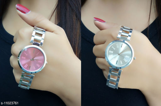 Trendy new  design Stainless Steel Strap  pack of 2  analog  watches for girls