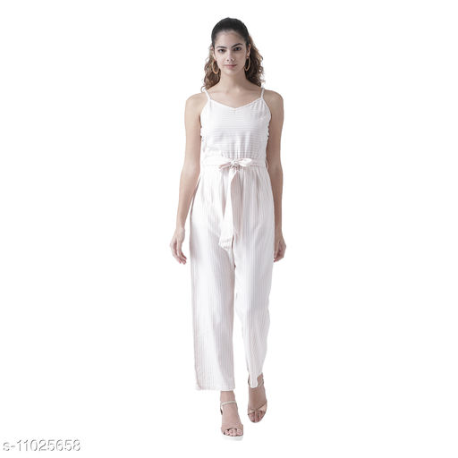 TEXCO Women Pink and White Striped Classic Belted Jumpsuit
