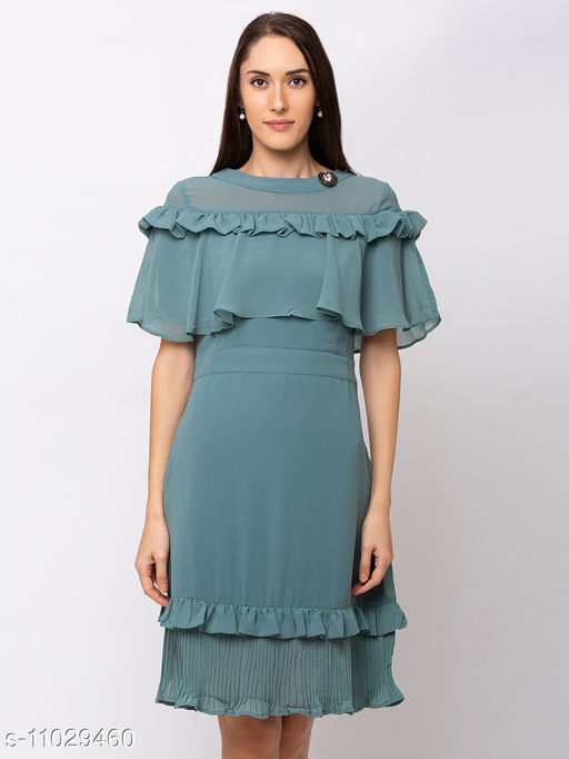 Sheczzar  Green  Color  Regular fit  Midi  Dress