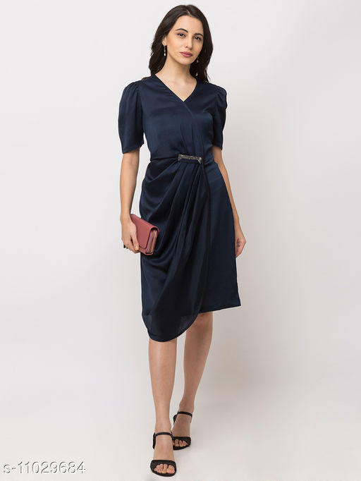 Sheczzar  BLUE  Color  Regular fit  Midi  Dress