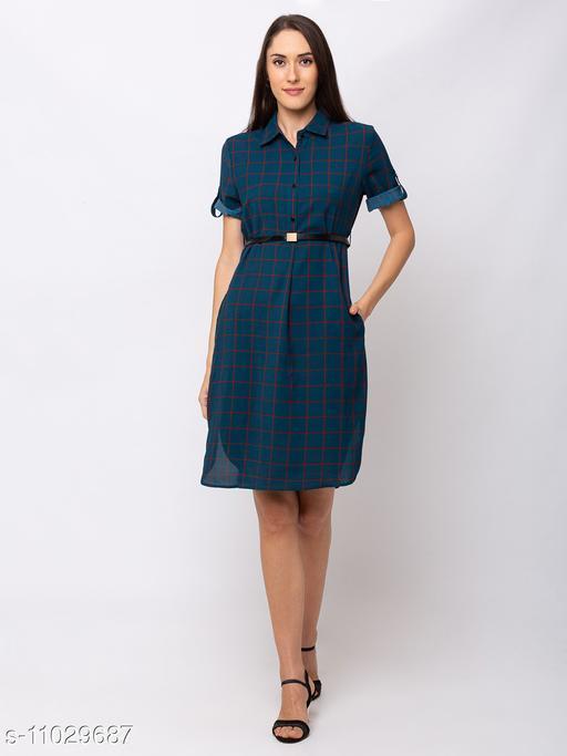 Sheczzar  Teal  Color  Regular fit  Midi  Dress