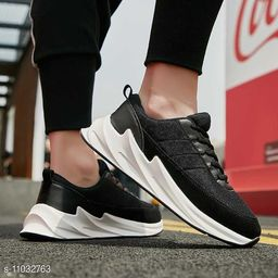 Stylish Men's Synthetic Black Sports Shoes